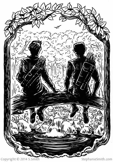 Ink drawing of two warriors sitting a forest