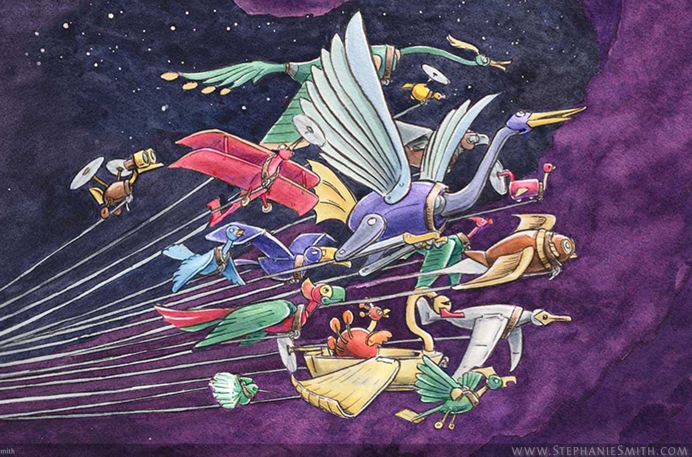 Painting of flock of robot birds flying through outer space