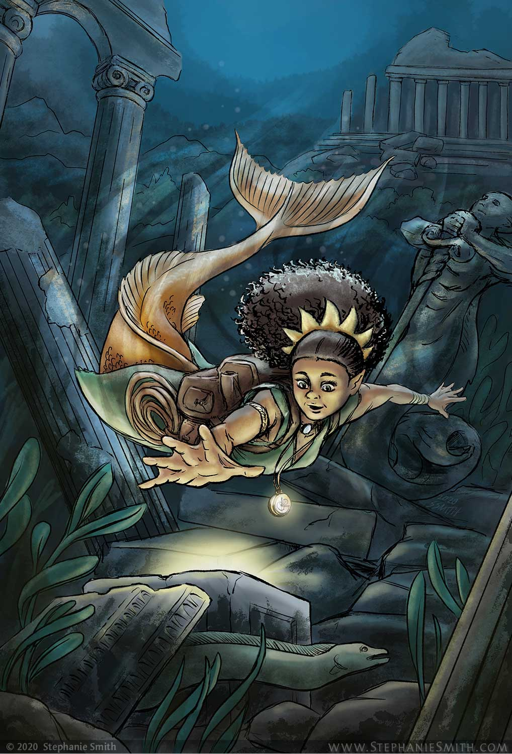 Painting of a mermaid reaching for a glowing artifact hidden in ancient ruins