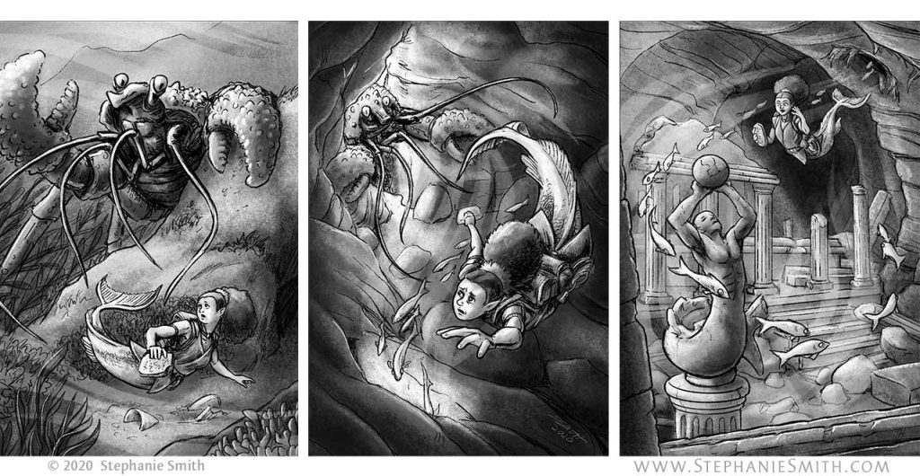 Artwork of a sequence of three images showing a mermaid being surprised by a monstrous crustracean, fleeing from it into a cave, and discovering a hidden treasure inside