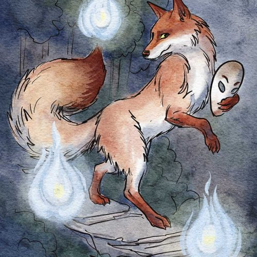 watercolor painting of a fox walking on hind legs with magic flames around it