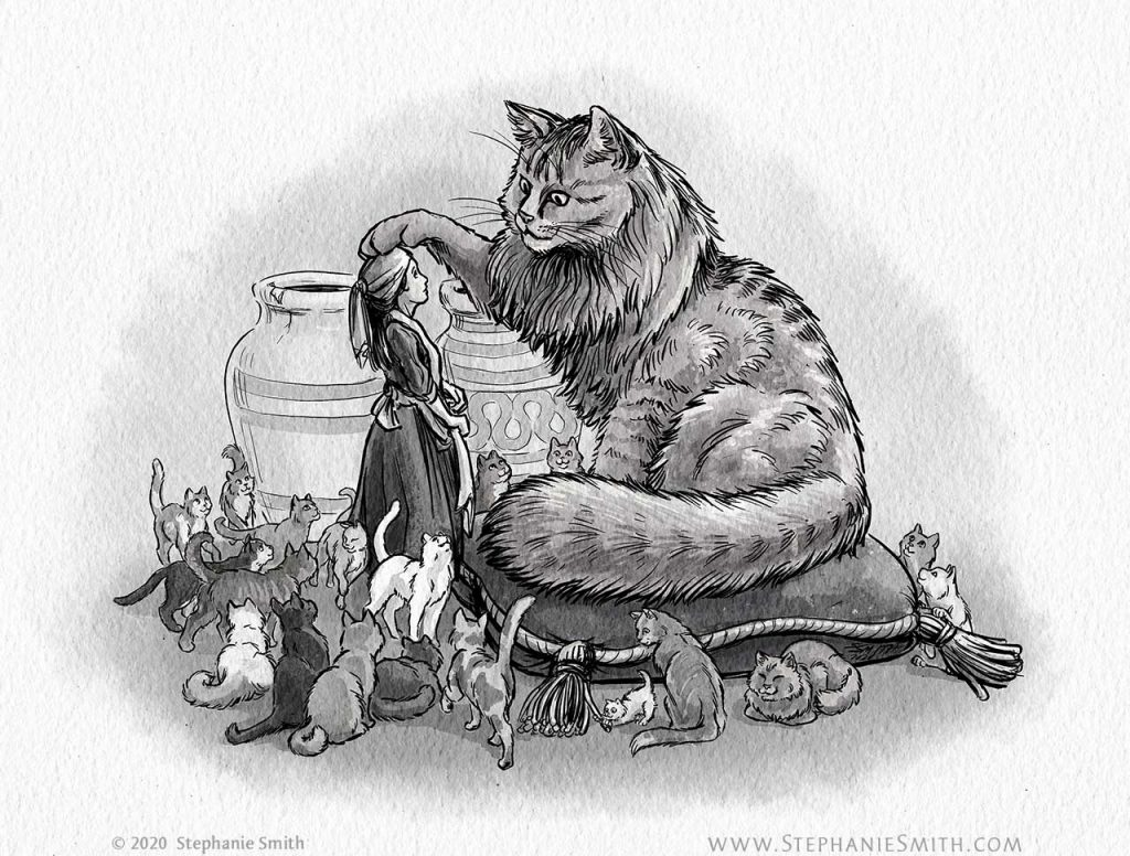 A drawing of a huge cat, surrounded by smaller cats, with its paw gently resting on a girls head.