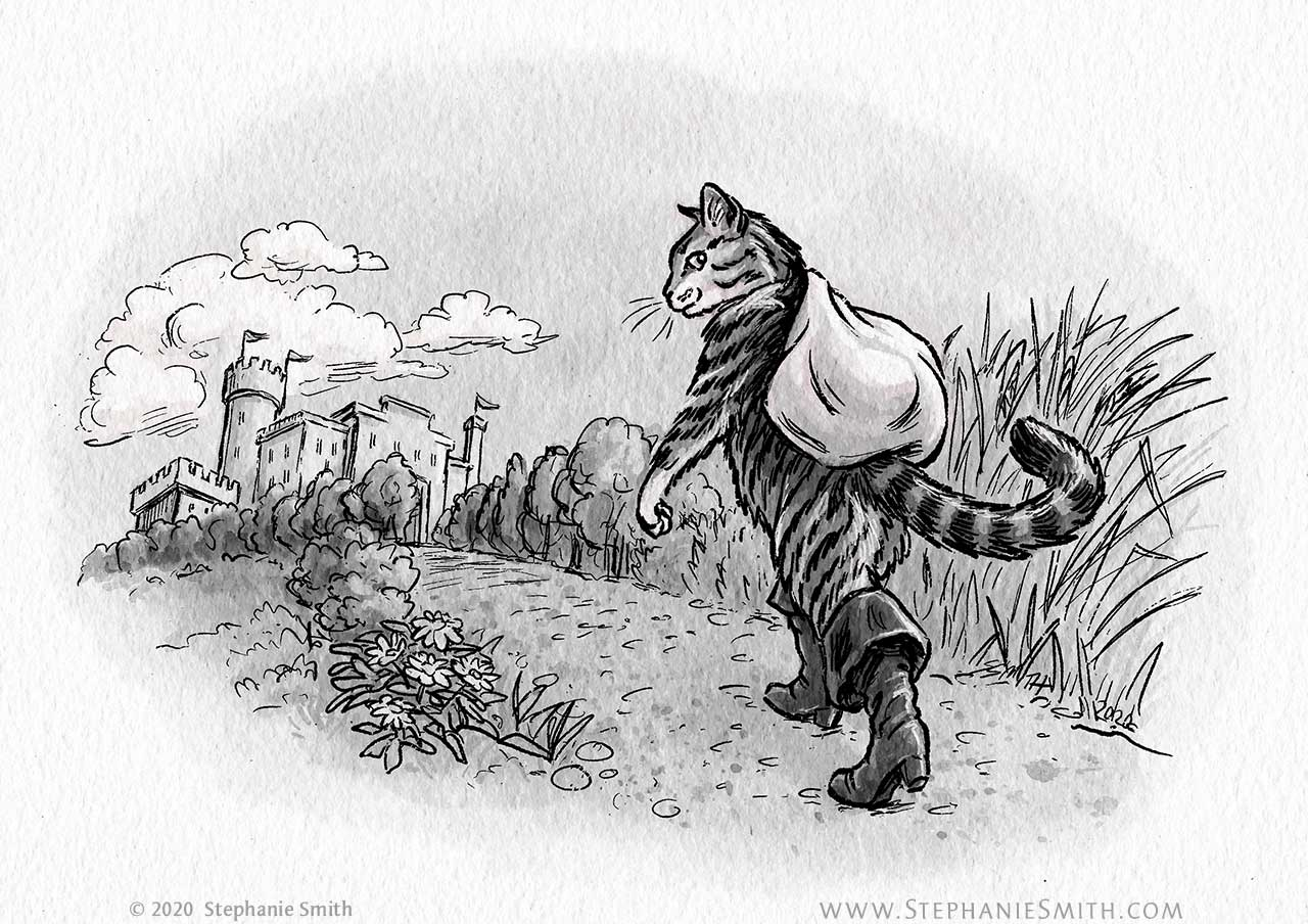 Drawing of a cat wearing boots and carrying a sack walking down a road towards a castle