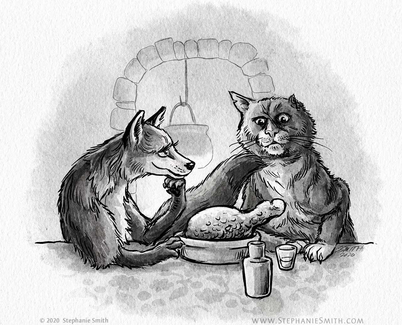 Drawing of a fox alluring serving food to a skeptical one-eared cat.