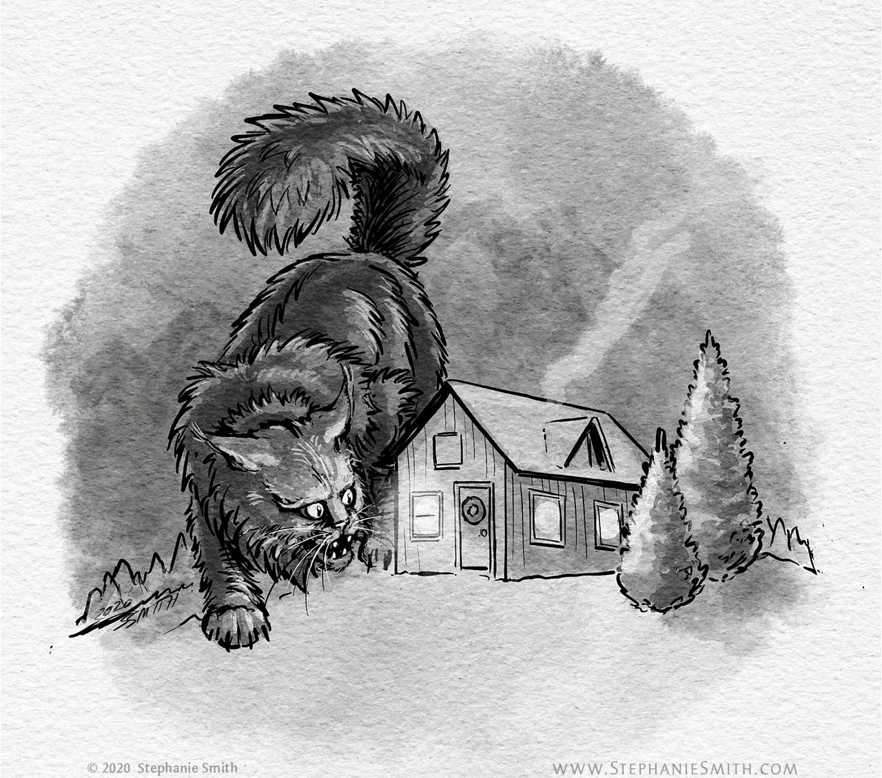 Drawing of a giant black cat peeking in the window of a small house in the winter woods.