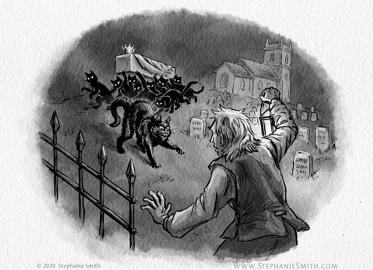Drawing of a man in a graveyard confronting a crowd of black cats carrying a coffin