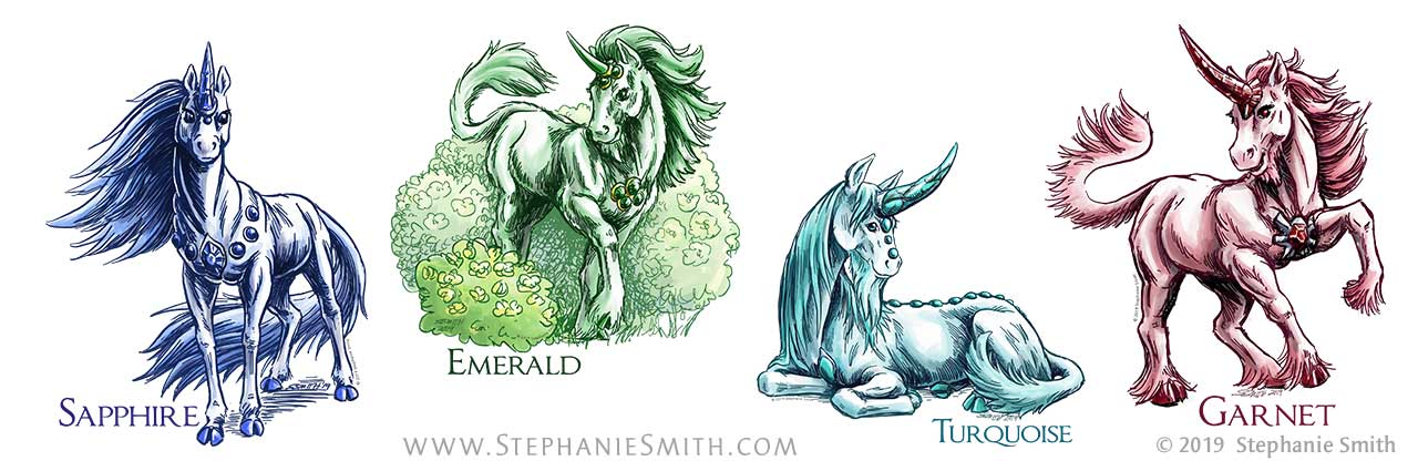 Drawings of colorful unicorns named after gemstones