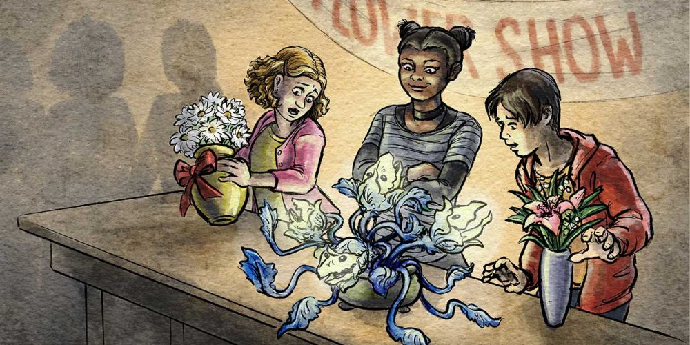 Artwork of children exhibiting at a flower show, where the middle child has brought a monstrous glowing plant and the other children with their normal bouquets are shocked.
