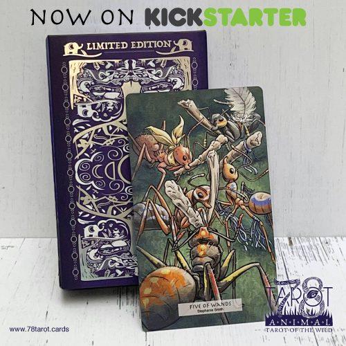 Kickstarter promo for Five of Wands in 78 Tarot Animal